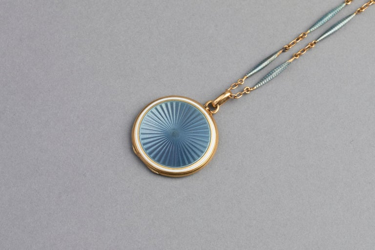 Antique French Locket Necklace, Gold and Enamel 2