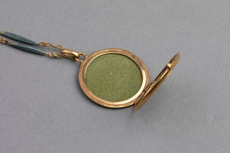 Antique French Locket Necklace, Gold and Enamel 5