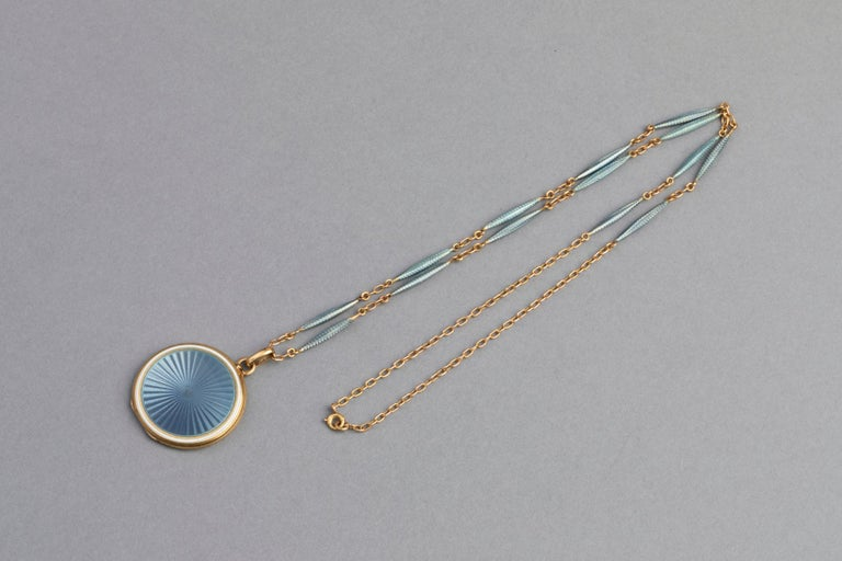 Antique French Locket Necklace, Gold and Enamel 8