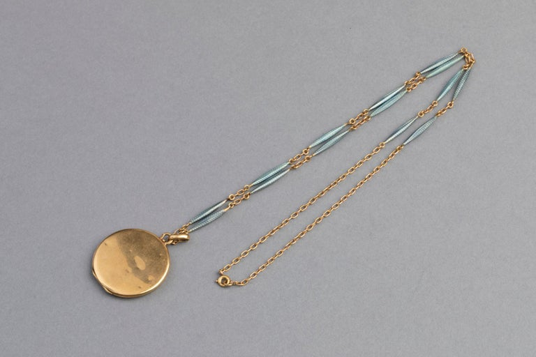 Antique French Locket Necklace, Gold and Enamel 9