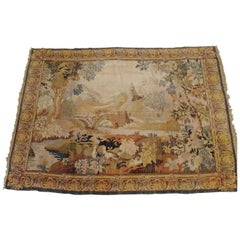 Antique French Loomed Tapestry, Forest Scene, Neutral Color, Wool, 1920