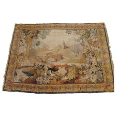Antique French Loomed Tapestry, Forest Scene, Neutral Color, Wool, 7x9, 1920