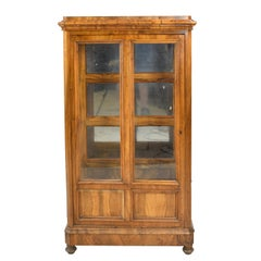 Antique French Louis Philippe Bookcase/Vitrine in Figured Walnut w/ Glass Panels