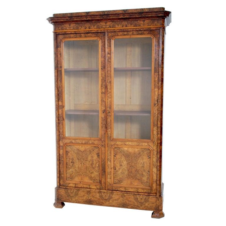 Antique French Louis Philippe Burl Walnut Bookcase / Cabinet, circa 1830 For Sale