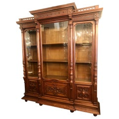 Antique French Louis Philippe Carved Walnut 3-Door Display Cabinet, Circa 1880's