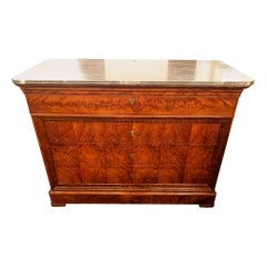 Antique French Louis Philippe Commode with Crotch Mahogany and Saint Anne Marble