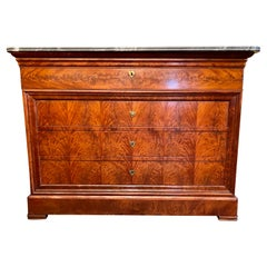 Antique French Louis Philippe Flamed Mahogany Marble Top Chest w/ Desk Ca. 1880s