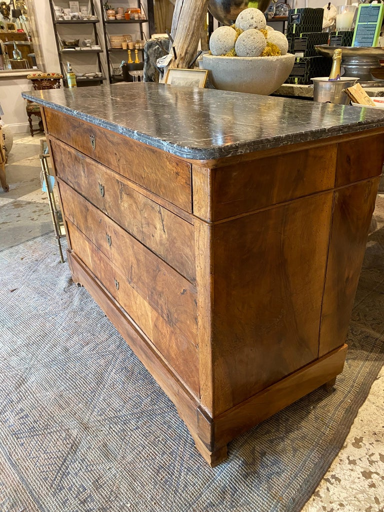 Antique French Louis Philippe Mahogany Commode with Dark Marble Top In Fair Condition For Sale In Houston, TX
