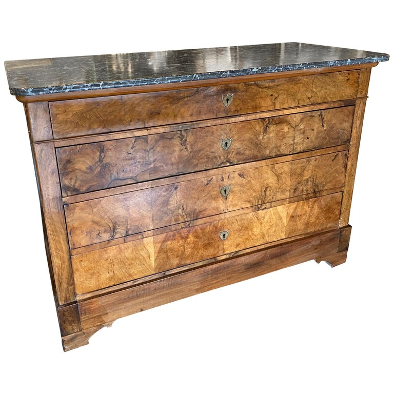 Antique French Louis Philippe Mahogany Commode with Dark Marble Top For Sale