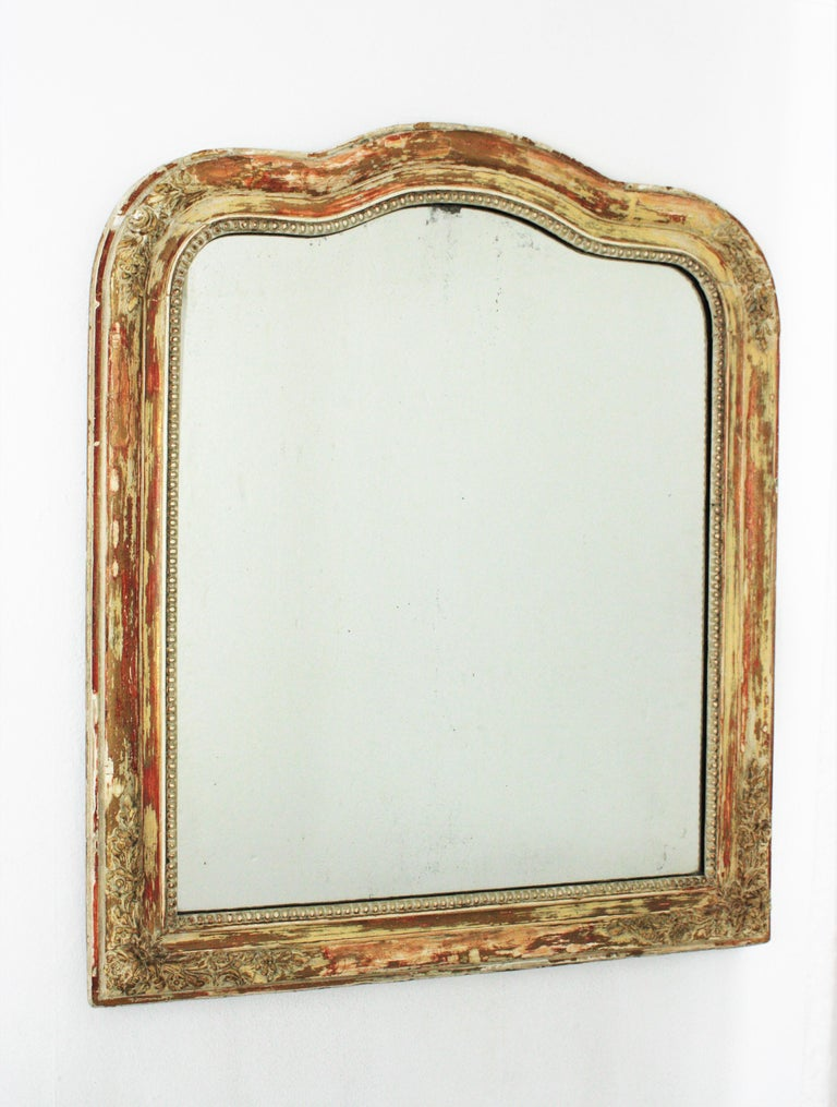 Carved Antique French Louis Philippe Mirror For Sale