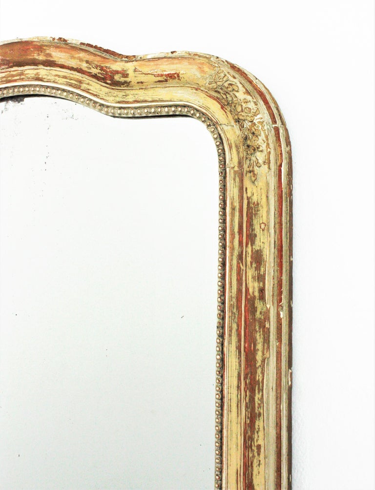 Wood Antique French Louis Philippe Mirror For Sale