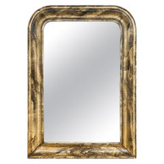 Antique French Louis Philippe Mirror with Faux Bois Painted Finish