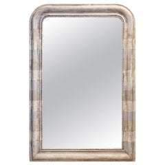 Antique French Louis Philippe Mirror with Hand Painted Greige Stripe Finish