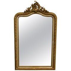 Antique French Louis Philippe Mirror with Serpentine Top