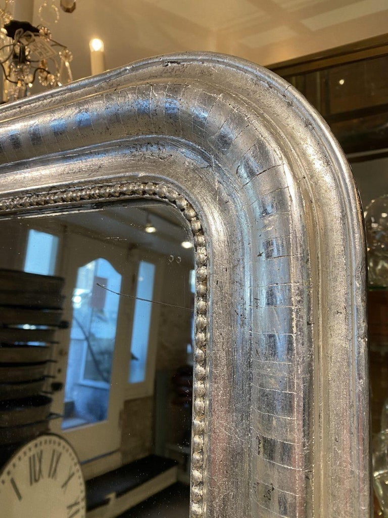 Antique French Louis Philippe Silver Mirror In Good Condition For Sale In Copenhagen K, DK