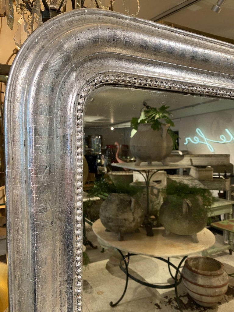Antique French Louis Philippe Silver Mirror For Sale 1