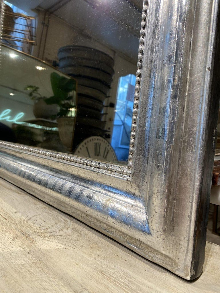 Antique French Louis Philippe Silver Mirror For Sale 2