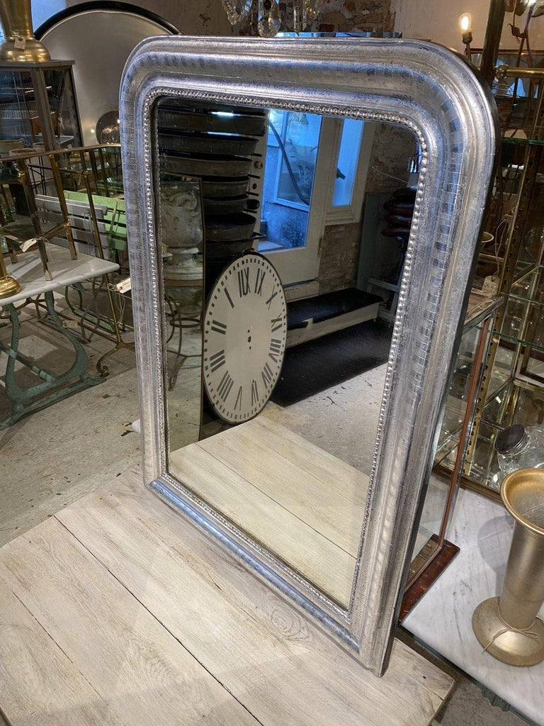 Antique French Louis Philippe Silver Mirror For Sale 3