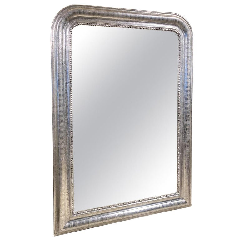 Antique French Louis Philippe Silver Mirror For Sale