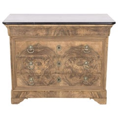 Antique French Louis Philippe Style Bleached Bookmatched Burled Walnut Commode