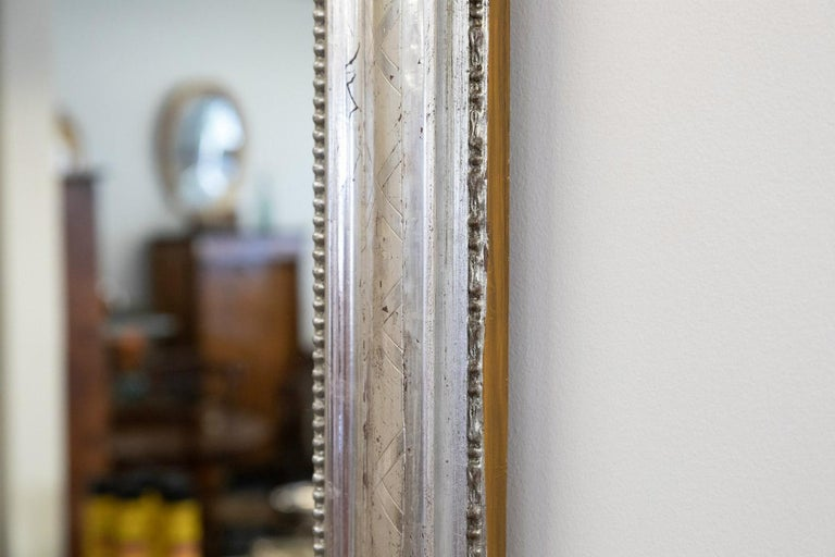 Antique French Louis Philippe Style Rectangular Silver Leaf Mirror For Sale 6