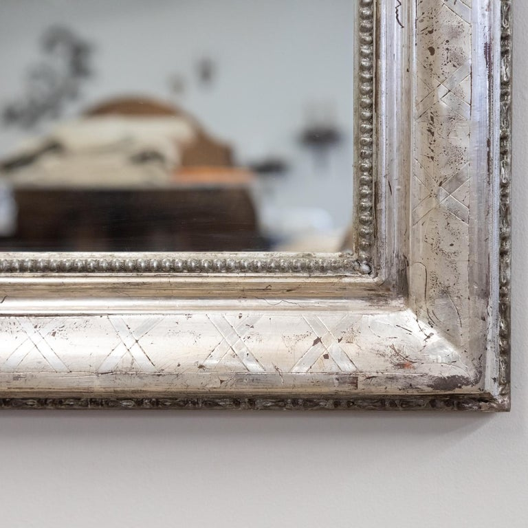 Antique French Louis Philippe Style Rectangular Silver Leaf Mirror For Sale 7