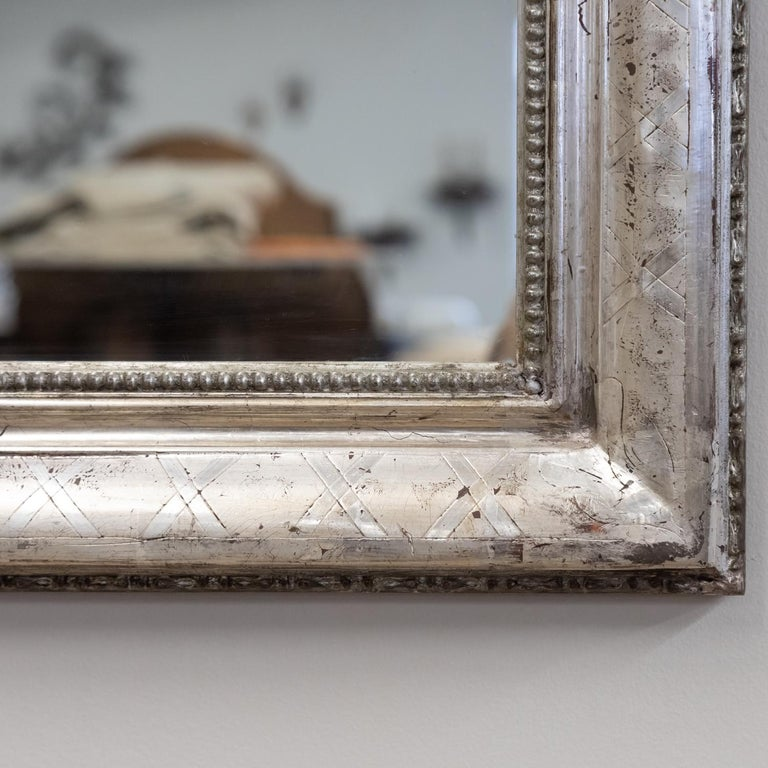 Antique French Louis Philippe Style Rectangular Silver Leaf Mirror For Sale 8