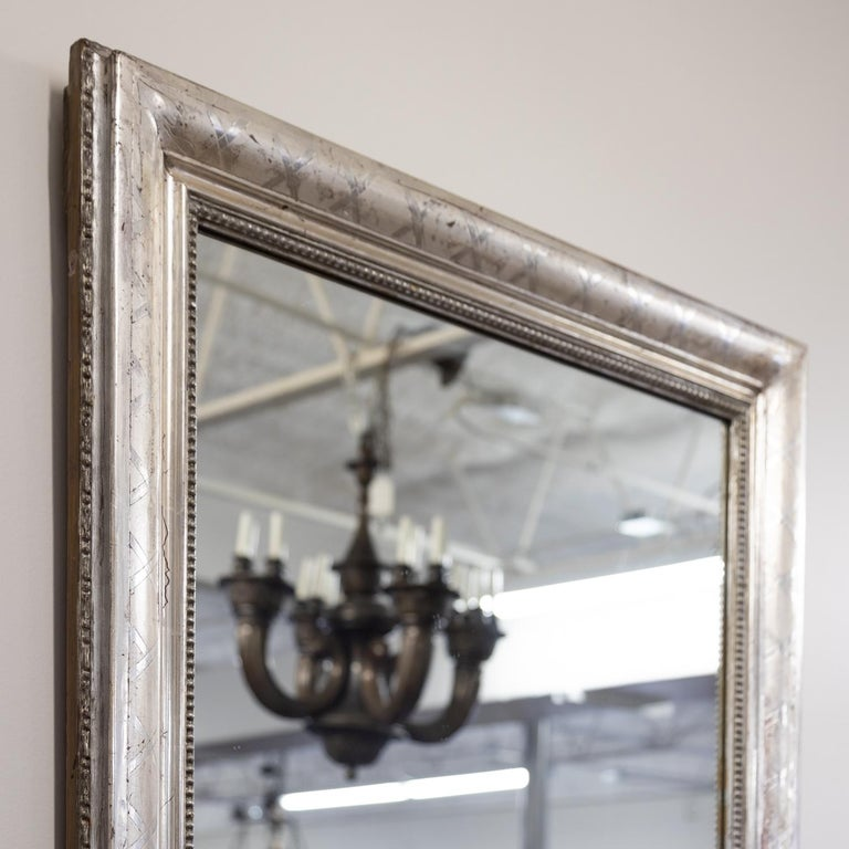 Antique French Louis Philippe Style Rectangular Silver Leaf Mirror In Good Condition For Sale In Birmingham, AL