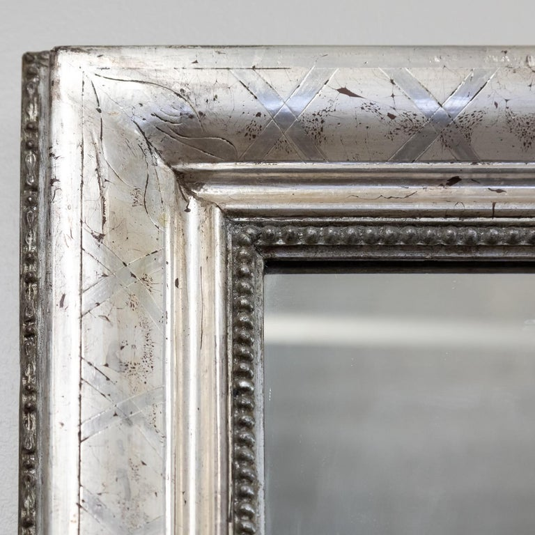 Late 19th Century Antique French Louis Philippe Style Rectangular Silver Leaf Mirror For Sale