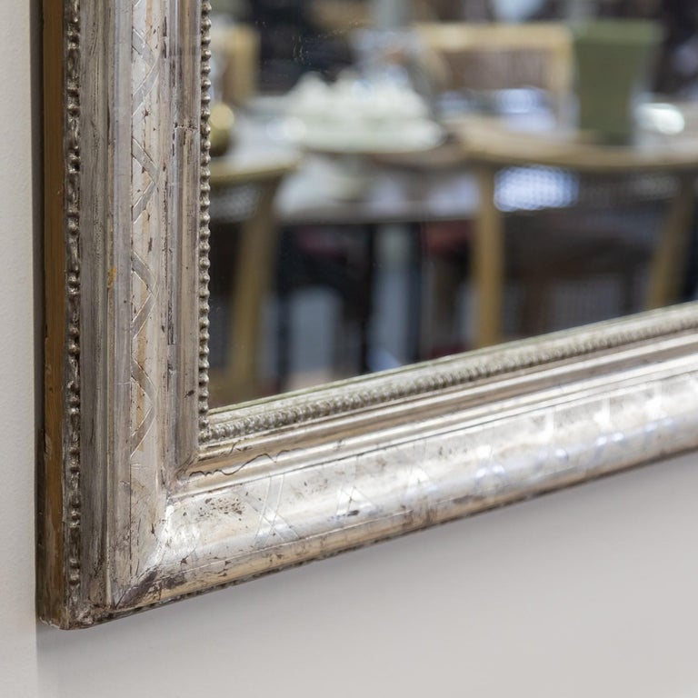 Antique French Louis Philippe Style Rectangular Silver Leaf Mirror For Sale 3