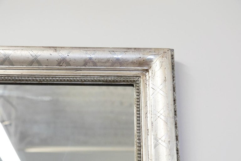 Antique French Louis Philippe Style Rectangular Silver Leaf Mirror For Sale 5