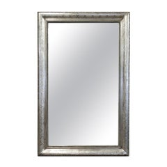 Antique French Louis Philippe Style Rectangular Silver Leaf Mirror