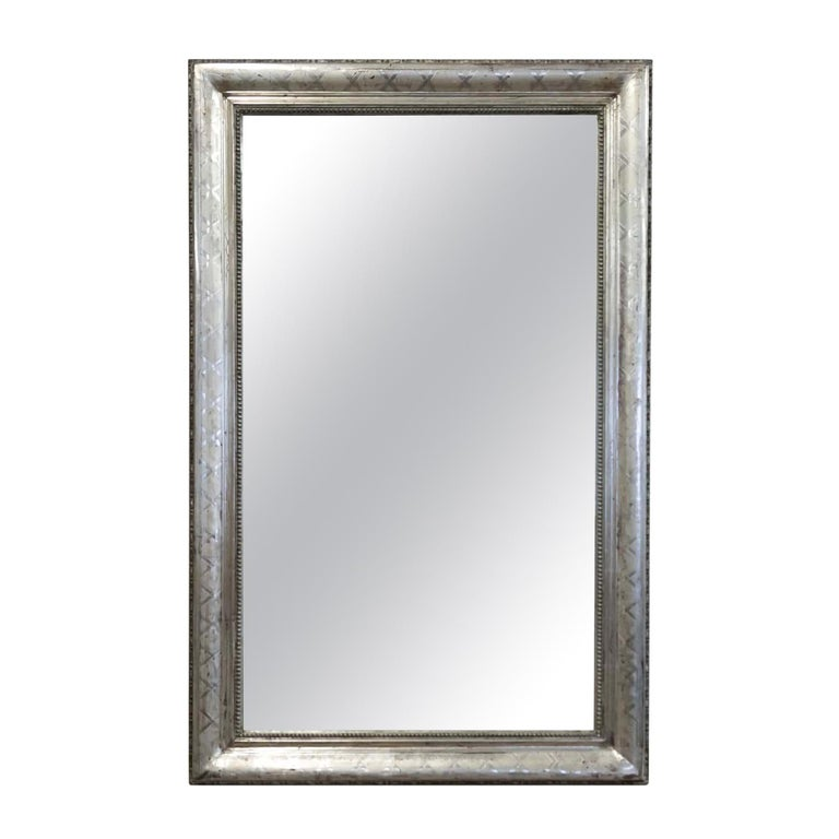 Antique French Louis Philippe Style Rectangular Silver Leaf Mirror For Sale