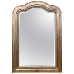 Antique French Louis Philippe Wood-Framed with Silver Leaf Beveled Mirror