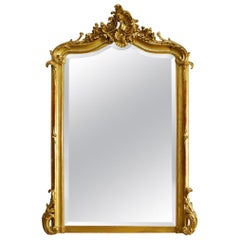 Antique French Louis Quinze Gold Gilt Mirror with Facetted Glass