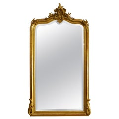 Antique French Louis Quinze or Rococo Gold Gilt Mirror
