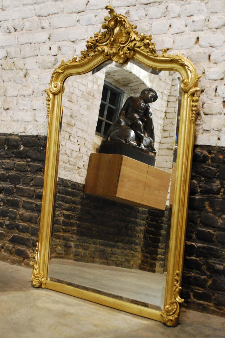 A beautiful antique French mirror in Louis Quinze style.  It has the asymmetrical ornamentation typical for Louis Quinze and Rococo. The double-arched top features an intricate crown with motifs such as rocailles, shells, flowers, and acanthus