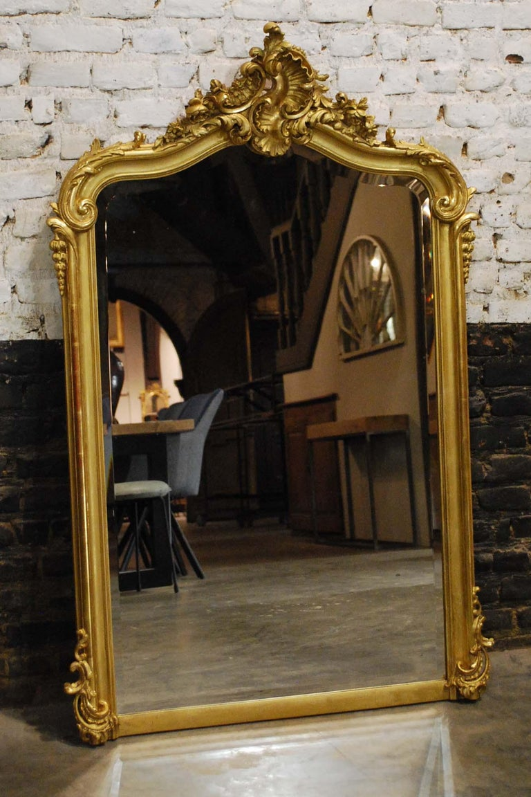 Louis XV Antique French Louis Quinze or Rococo Gold Gilt Mirror with Facetted Glass For Sale
