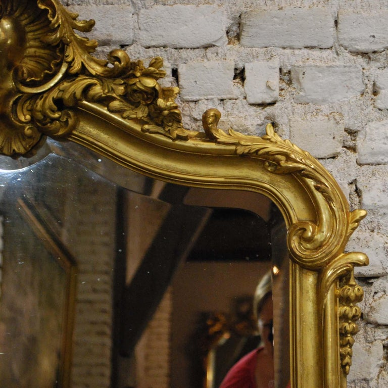 Antique French Louis Quinze or Rococo Gold Gilt Mirror with Facetted Glass For Sale 1
