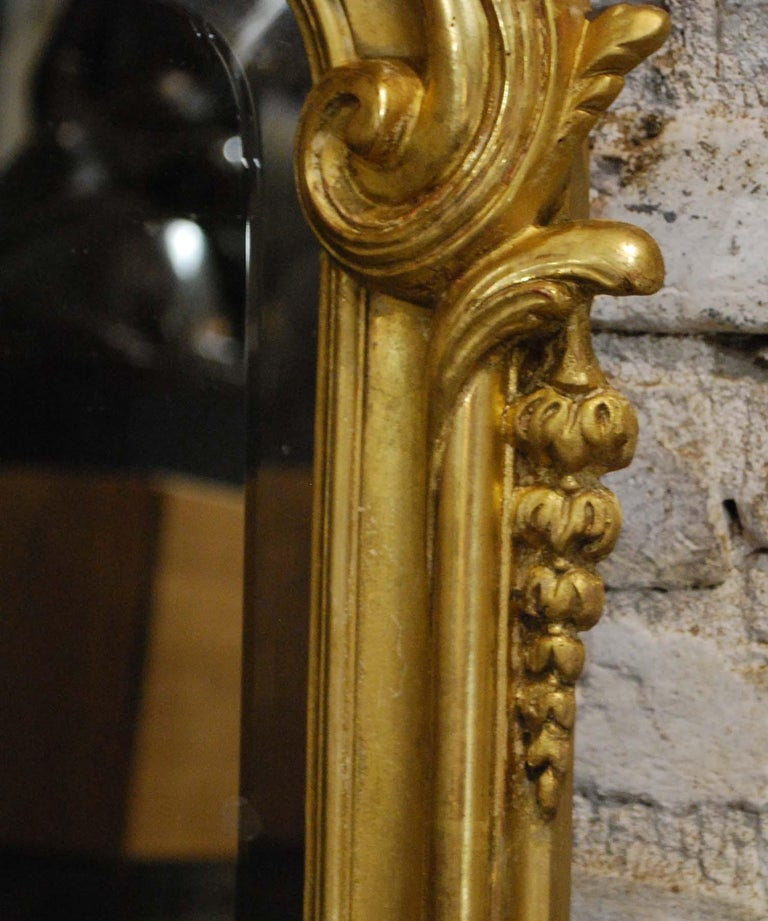 Antique French Louis Quinze or Rococo Gold Gilt Mirror with Facetted Glass For Sale 2