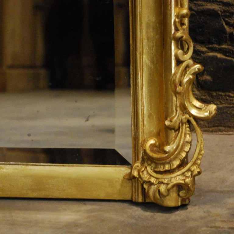 Antique French Louis Quinze or Rococo Gold Gilt Mirror with Facetted Glass For Sale 3
