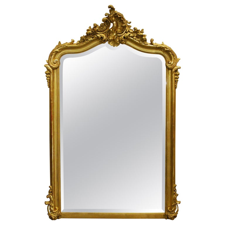 Antique French Louis Quinze or Rococo Gold Gilt Mirror with Facetted Glass For Sale