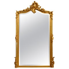 Antique French Louis Quinze or Rococo Gold Gilt Mirror with Facetted Glass