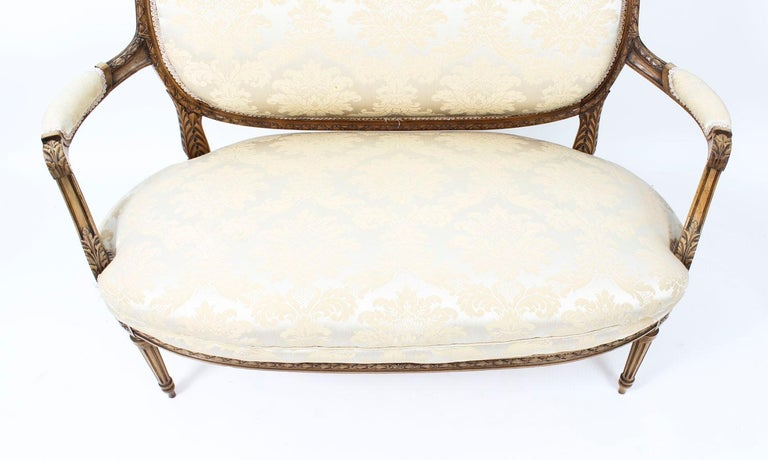 Mid-19th Century Antique French Louis Revival 5-Piece Salon Suite Sofa Armchairs 19th Century For Sale