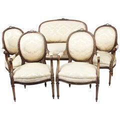 Antique French Louis Revival 5-Piece Salon Suite Sofa Armchairs 19th Century