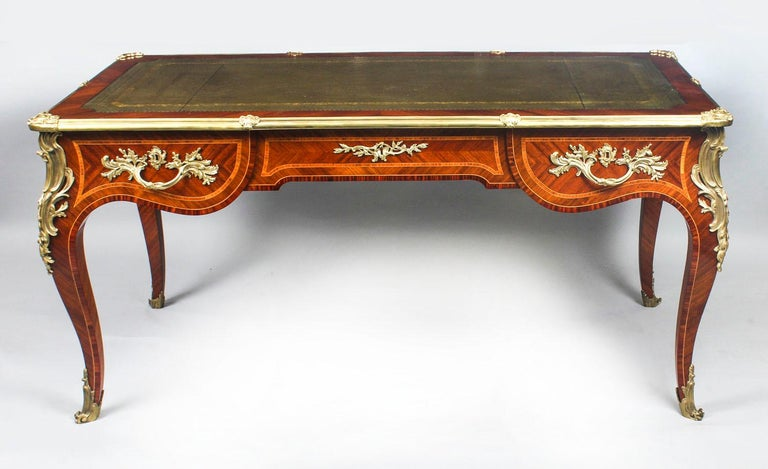 Antique French Louis Revival Kingwood & Ormolu Bureau Plat Desk 19th Century For Sale 13