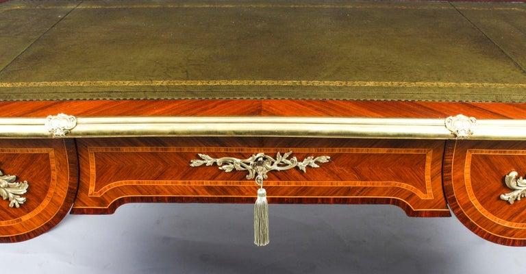 Late 19th Century Antique French Louis Revival Kingwood & Ormolu Bureau Plat Desk 19th Century For Sale