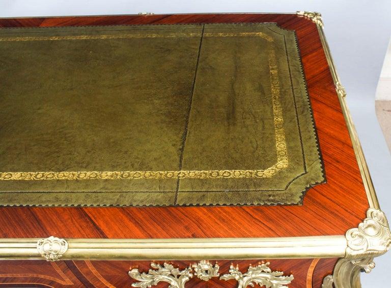 Antique French Louis Revival Kingwood & Ormolu Bureau Plat Desk 19th Century For Sale 2