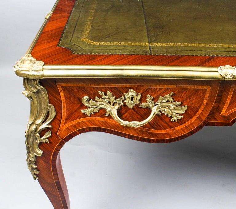 Antique French Louis Revival Kingwood & Ormolu Bureau Plat Desk 19th Century For Sale 4