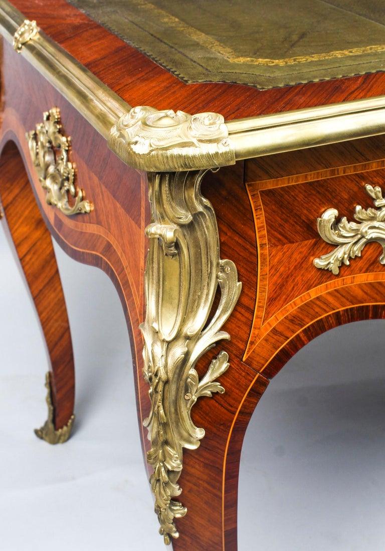 Antique French Louis Revival Kingwood & Ormolu Bureau Plat Desk 19th Century For Sale 5